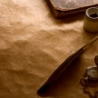 Compass, Inkwell and feather on a background of the empty form for the letter — Stock Photo #12616248