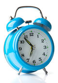 Old fashioned alarm clock on white background — Stok fotoğraf