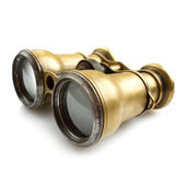 Old binoculars on white background — Foto Stock