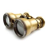 Old binoculars on white background — Stock Photo