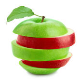Red and green sliced apple — Stock Photo