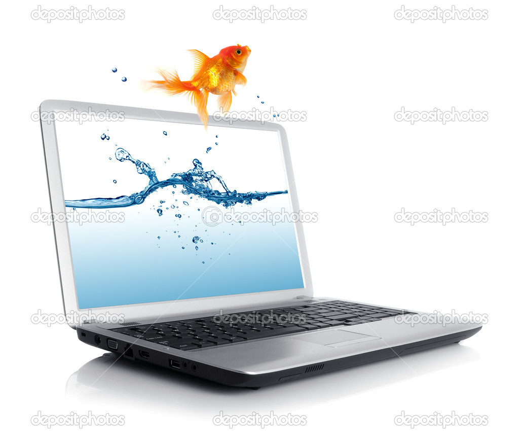 Goldfish jumping out of the notebook — Stock Photo #12610742