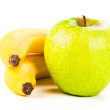 Stock Photo: Two bananas and apple