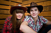 Cowboy and Cowgirl Couple — Stock Photo
