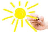 Mão desenho sol — Foto Stock