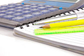 Notebook,ballpen and calculator — Stock Photo