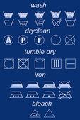 Icon set of laundry symbols — Stock Photo