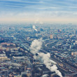 Above view Moscow cityscape and blue clouds in autumn - Stockfoto