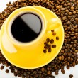 Stock Photo: Coffee in yellow cup