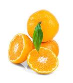 Ripe sweet tangerine with leaf — Stock Photo