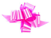 Pink gift bow isolated on white — Stock Photo