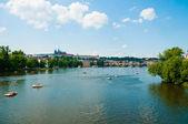 The View on summer Prague above River Vltava — Foto de Stock