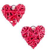 červená slaměné srdce — Stock fotografie