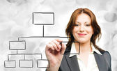 Business woman designing a plan on screen — Stock Photo