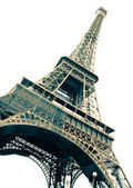 Famous Eiffel Tower of Paris isolated on white — Stock Photo