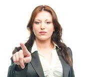 Business woman touching the screen with her finger — Stock Photo