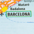 Barcelona on a map — Stock Photo