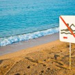 No swimming sign on a beach — Stock Photo #21572875