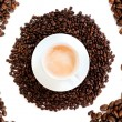 Foto Stock: Cup of coffee cappuccino isolated over white background