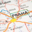 Praha on a map — Foto Stock