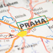 Praha on a map — Stockfoto