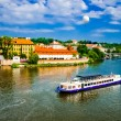 View on summer Prague above River Vltava — Stok Fotoğraf #21573535