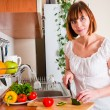 Woman preparing something to eat — Stock Photo