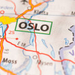 Oslo on a map — Stock Photo