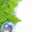 Pine branches and xmas ball isolated - Stock Photo