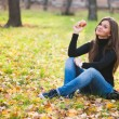 Portrait of beautiful young woman with apple in autumn park — Stock Photo #21577017