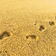 Footprint on sand with foam — Foto Stock