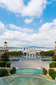 Aerial view of Barcelona from National Palace — Stock Photo
