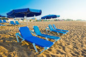 Chaise-longues on the beach — Stock Photo