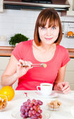 Young happy woman with lot of sugar — Stock Photo