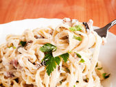 Fettuccine carbonara — Stock Photo