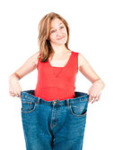 A slim young woman makes good diet — Stock Photo