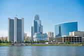 View of quay wharf embankment Yekaterinburg City. — Stockfoto