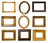Sada zlatých rámečků — Stock fotografie