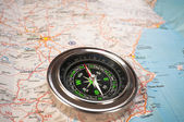 A compass on the map of the European continent. — Stock Photo