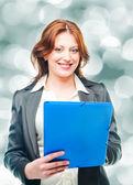 Mujer de negocios con una cartera — Foto de Stock