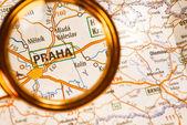 Praha na mapie — Zdjęcie stockowe