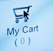 Online Shopping - arrow Pushing on empty basket button — Stock Photo