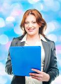 Business woman holding a portfolio — Stock Photo