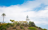 Old lighthouse on sea coast. Calella. Catalonia. Spain — Stock Photo