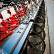 Stock Photo: Parking of bicycles for hire