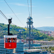 Cablecar over the port in Barcelona, Spain — ストック写真