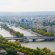 Aerial panoramic view of Paris and Seine river as seen from  Eiffel Tower — Stock Photo