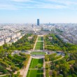 Stock Photo: aerial panoramic view of paris and seine river as seen from eiff