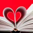 Pages of book curved into heart shape — Foto de stock #22563599