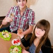 Young, attractive, happy, smiling couple celebrating with champa — 图库照片 #22564017